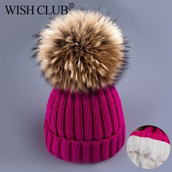 WISH CLUB Winter Hat For Women Fox Fur Pom Hat Girls Thick Knitted Beanies Poms Winter Beanies Hat Ball Cap Female Warm Hat Gift