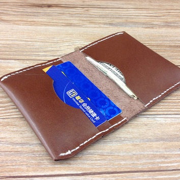 Bifold leather wallet, minimal wallet, womens purse, distressed leather, gift for mom, womens brown pocket wallet, slim leather wallet