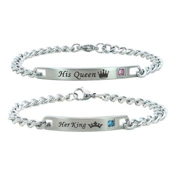 """Cool 2017 Hot sell Unique Gift for Lovers """"His Queen""""""""Her King """" Couple Bracelets Stainless Steel Bracelets For Women Men JewelryAT_93_12"""