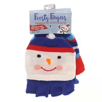 Apparel FINGERLESS POP-TOP MITTEN GLOVE Childs Stretches To Fit Xfglv Snowman