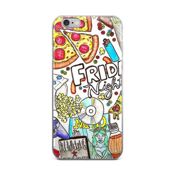 Pizza & Movies Friday Nights Collage Painting Netflix & Chill iPhone 4 4s 5 5s 5C 6 6s 6 Plus 6s Plus 7 & 7 Plus Case