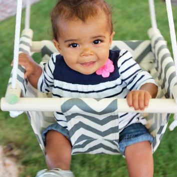 Canvas and Wood Baby Hanging Chair Swing
