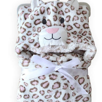 Soft Fleece Baby Coral Bag Blanket Towel Animal Shape Hooded Bathrobe TowelSM6