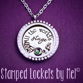 All the World's a Stage - Hand Stamped Stainless Steel Necklace - Floating Glass Memory Locket - Shakespeare Jewelry - Actor Actress Theatre
