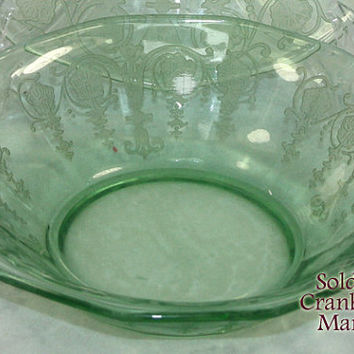 Vintage Fostoria Vernon Green Depression Glass Cereal Bowl PG195A