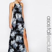 ASOS Tall | ASOS TALL Mono Floral High Neck Maxi Dress at ASOS