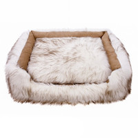 Animals Matter Shag Lounger Dog Bed — White Brown Tip