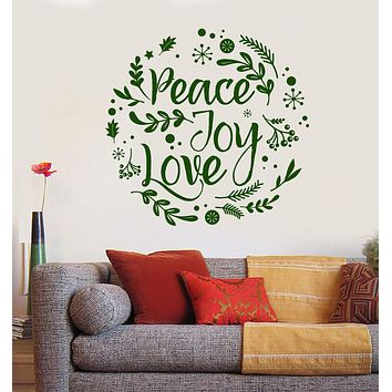Vinyl Wall Decal Peace Joy Love Hippie Flower Children Home Decor Stickers Unique Gift (900ig)