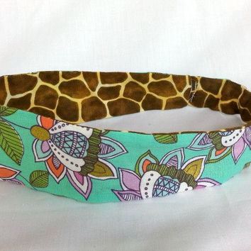 Reversible Headband - Aqua and Giraffe Print - Fabric Headband - Girls Headband - Teen Headband - Tween Headband - Back to School -