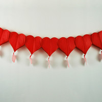 Paper Fantasies 91693 12' Red Heart w/Dangle Garland