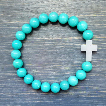 Turquoise Mountain Jade Gemstone Beaded Bracelet w/ White Quartz Cross