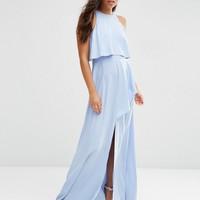 ASOS Crop Top Ruffle Split Maxi Dress at asos.com