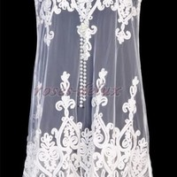 Vintage 1920's DRESS Art Nouveau Deco White Great Gatsby Sheer Party  RD 3246