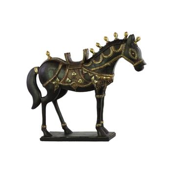 Resin Decorated Tang Horse Figurine Espresso Brown