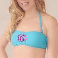 Aqua Bandeau Bathing Suite Top