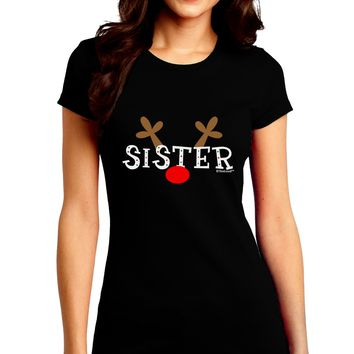 Matching Family Christmas Design - Reindeer - Sister Juniors Crew Dark T-Shirt by TooLoud