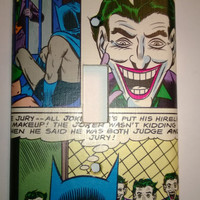 Comic Book The Joker and Batman superhero comic light switch cover