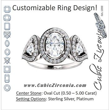 Cubic Zirconia Engagement Ring- The Cordelia (Customizable Cathedral-set Oval Cut Design with 2 Trillion Cut Accents, Halo and Split-Pavé Band)