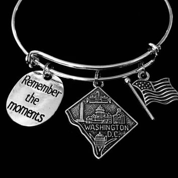 Washington DC Jewelry Expandable Charm Bracelet Remember the Moments Adjustable Silver Bangle One Size Fits All Gift