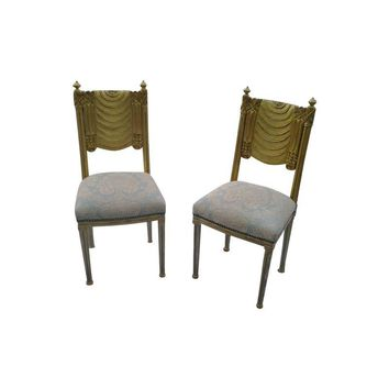Pre-owned 1940'S French Carved Wood Side Chairs - A Pair