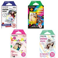 Fujifilm Instax Mini Films Airmal & Stripe & Rainbow & Candy Pop Film - 10 Sheets X 4 Assort Value Set
