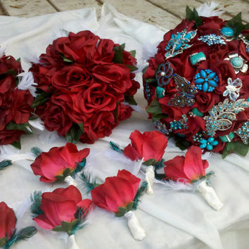 Rose Corsage, Leaves, Feathers, Crimson, Red, Turquoise, Ivory, Flower corsage, Bracelet, Wedding, Prom