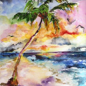 Bahamas Memories Palms and Beach Original Watercolor and Ink