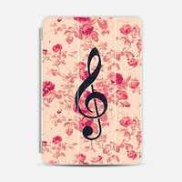 Vintage Music Note Treble Clef Chic Pink Flowers iPad Mini 1/2/3 case by Girly Road | Casetify