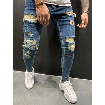 Mens Street Style Ripped Repaired Jeans Patched 4532