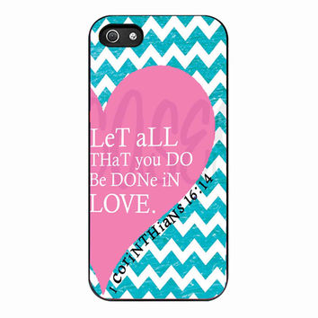 Pink Heart Chevron Bible 1 Corinthians for Iphone 5 Case *01*