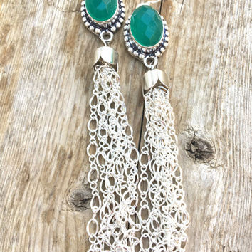 Green  Tassel Earrings Agate Oval Earrings Long Dangles Sterling Silver wires Very long  tassel earrings.