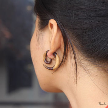 Tribal Fake Gauge Wood Earring, Small Spiral Fake Taper Earrings, Bali Spiral Wooden Earring Handmade Wood Carving