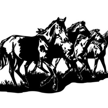 Horse, pony decal, mustang sticker, western, childs room decor, girls room, vinyl wall art, 27 X 46 inches