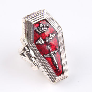 Retro Vampire Coffin Box Ring Vintage Enamel Crown Bat Cross Finger Ring For Women Unisex Jewelry 6D3006