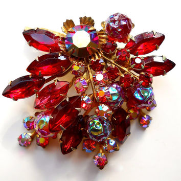 Red Rhinestone Cluster Brooch, ABs, Lava Glass, Vintage