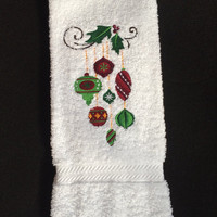 Christmas Ornaments Hanging from Holly Embroidered on White Bath Hand Towel. Greens Reds Gold and White