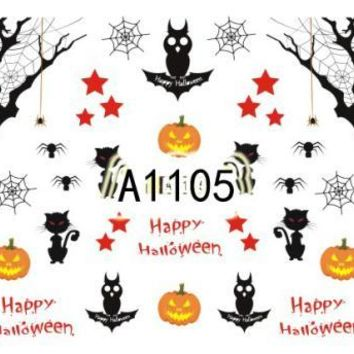 1 Sheets 2017 Water Sticker for Nail Art Halloween Skulls Ghosts Owls Black Cats Pumpkin Spider Web Nail Tools CHA1105-1128
