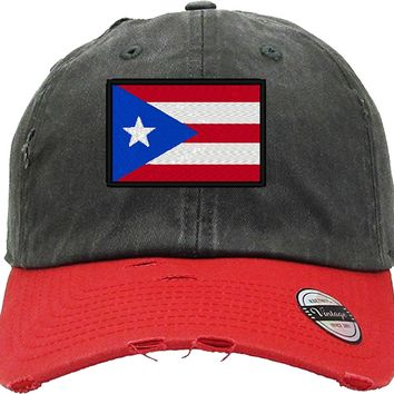 puertorican flag Distressed Baseball Hat