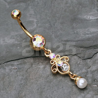 Golden Elegant Jeweled Pearl Dangle Belly Button Ring