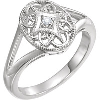 Sterling Silver .025 CTW Diamond Oval Filigree Ring