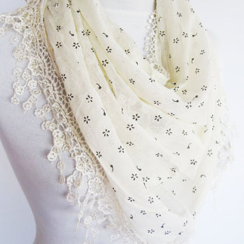 Cream Cotton Scarf With Fringed Lace, Christmas, Gift, Headband, Cowl, Infinity Scarf, Loop Scarf