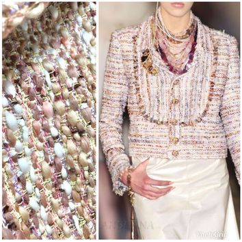 Special Order- Designer Silk and Cotton Ribbon Tweed Fabric- Pink and Ivory Blush