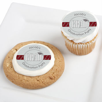 Con-GRAD-ulations Red - Personalized Graduation Party Edible Cupcake Toppers - 12 ct