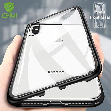 CHYI Built-in Magnetic Case for iPhone X Clear Tempered Glass Magnet Adsorption Case for iPhone 8 7 Plus glass Back Cover bumper