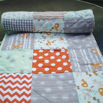 Modern Baby quilt,Patchwork crib quilt,baby boy bedding,baby girl quilt,woodland,rustic,grey,mint green,orange,chevron,deer,fox,Good Natured