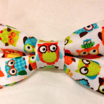 Owl Bow Tie - Baby Bow Tie -owl hair bow - pretied bow tie - infant, toddler, child, adult