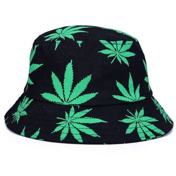 Green Maple Leaf Outdoor Fishing Sun Hat Floral Fisherman Panama Hat