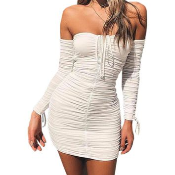 Package Hip Strapless Fold Mini Dress Autumn Bodycon Bandage Long Sleeve Sexy Dresses Female Slim Sheath Jurken GV150