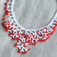 Red White Necklace. Wedding Necklace. Bridal Necklace. Bridesmaids Necklace.  Beadwork
