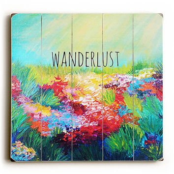 Wanderlust by Artist Julia DiSano Wood Sign